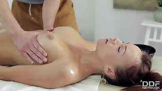 Hot Munificent Teen oiled up & Fucked Deep during Massage