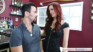 Bartender enjoys fucking red haired hottie Karlie Montana in mouth and pussy