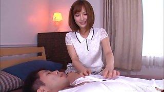 Cute Japanese in a miniskirt Okazaki Emiri creampied at a hotel room