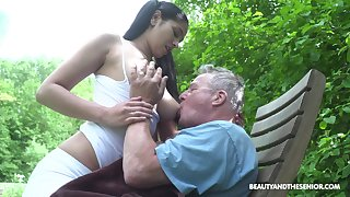 Awesome pigtailed brunette with dazzling big boobies Ava Black rides old blarney