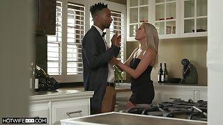Tall washed out babe Paisley Bennett gets a nip of cum after crazy sex with the brush black lover