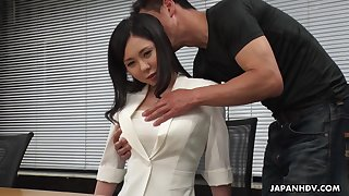Demure Asian girl Miyuki Ojima is fucked increased by creampied by horny co-worker