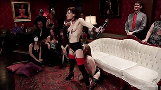 Alice March and Audrey Holiday are among dramatize expunge subs handy a BDSM party