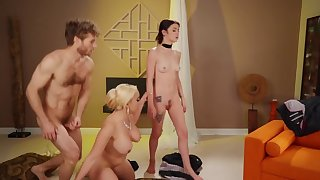 Blonde dominatrix drags skinny slaved into dirty threesome