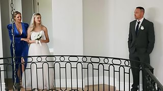 Horny bride is having lesbian sex moments before wedding